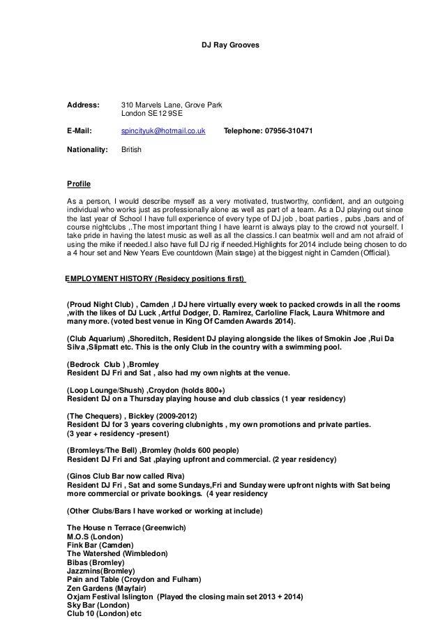 disc jockey resume