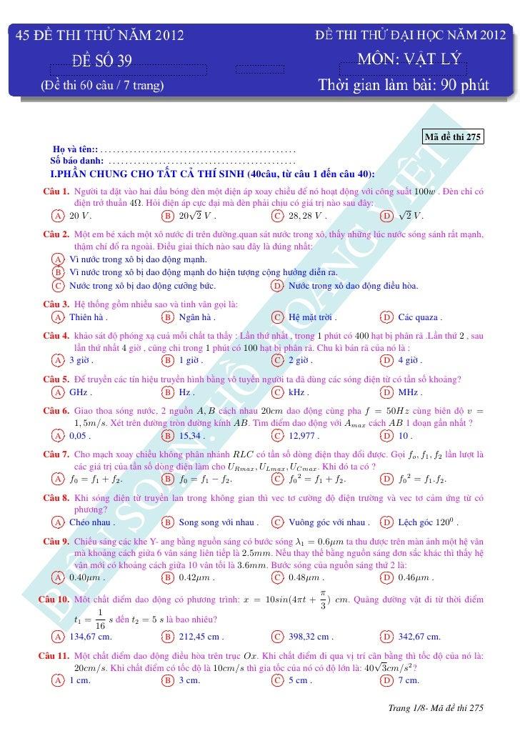 45 đề thi thử đại học môn vật lý năm 2012- đề số 39