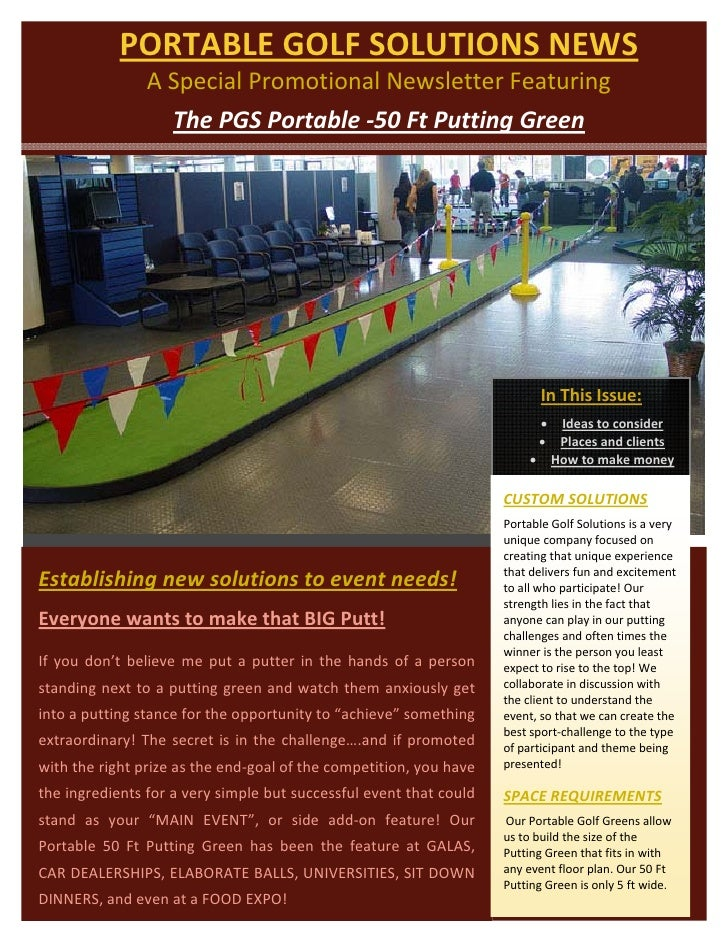 PORTABLE GOLF SOLUTIONS NEWS                        A Special Promotional Newsletter Featuring         ...