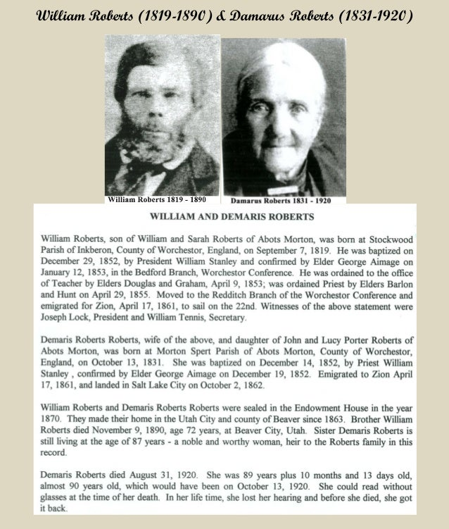 William and Damarus Roberts 1861 Immigration History