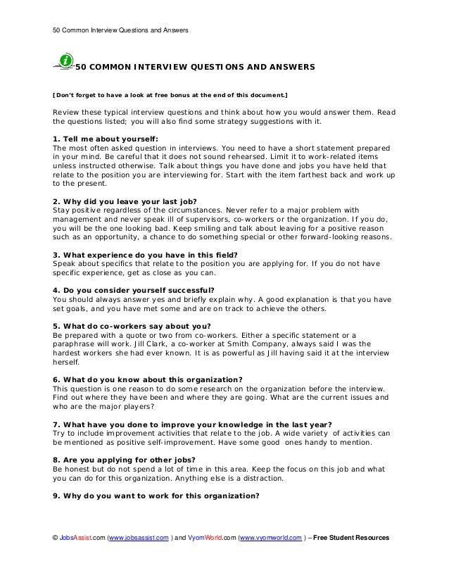 50 Common Interview Questions and Answers © JobsAssist.com (www.jobsassist.com ) and VyomWorld.com (www.vyomworld.com ) – ...