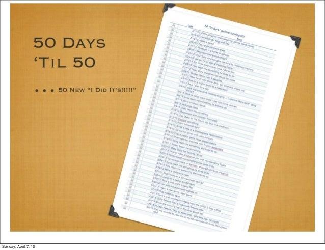 #50NewToDosBefore50!