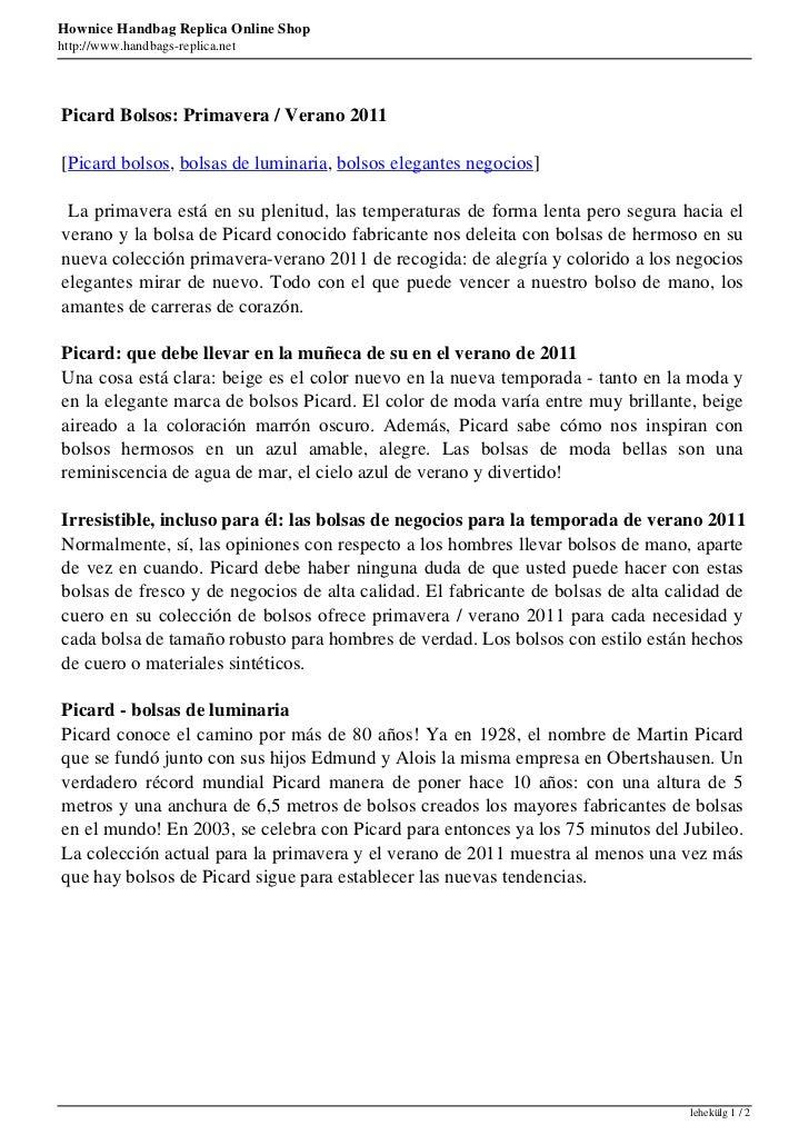 Hownice Handbag Replica Online Shophttp://www.handbags-replica.netPicard Bolsos: Primavera / Verano 2011[Picard bolsos, bo...