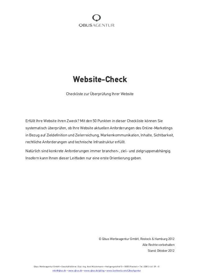 Website-Check                                      Checkliste zur Überprüfung Ihrer WebsiteErfüllt Ihre Website ihren Zwec...