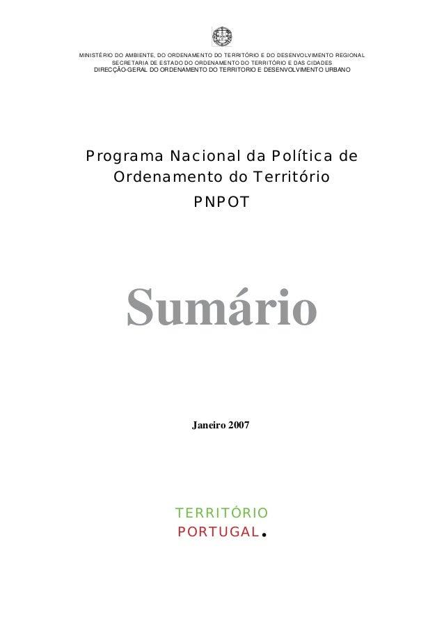 Programa Nacional da Política de  Ordenamento do Território  PNPOT
