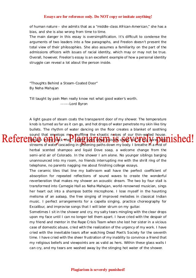 Sample college essays harvard