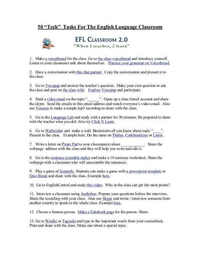 50 tech tasks for the english language classroom