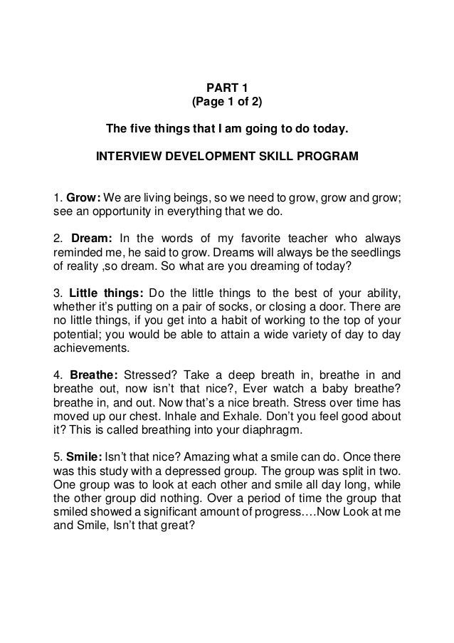 PART 1                            (Page 1 of 2)          The five things that I am going to do today.        INTERVIEW DEV...
