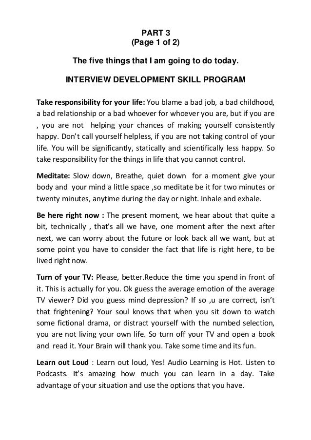 PART 3                              (Page 1 of 2)           The five things that I am going to do today.         INTERVIEW...