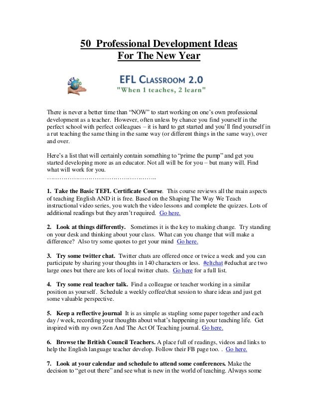 """50 Professional Development Ideas                     For The New YearThere is never a better time than """"NOW"""" to start wor..."""