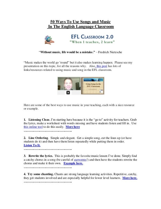 """50 Ways To Use Songs and Music                   In The English Language Classroom            """"Without music, life would b..."""