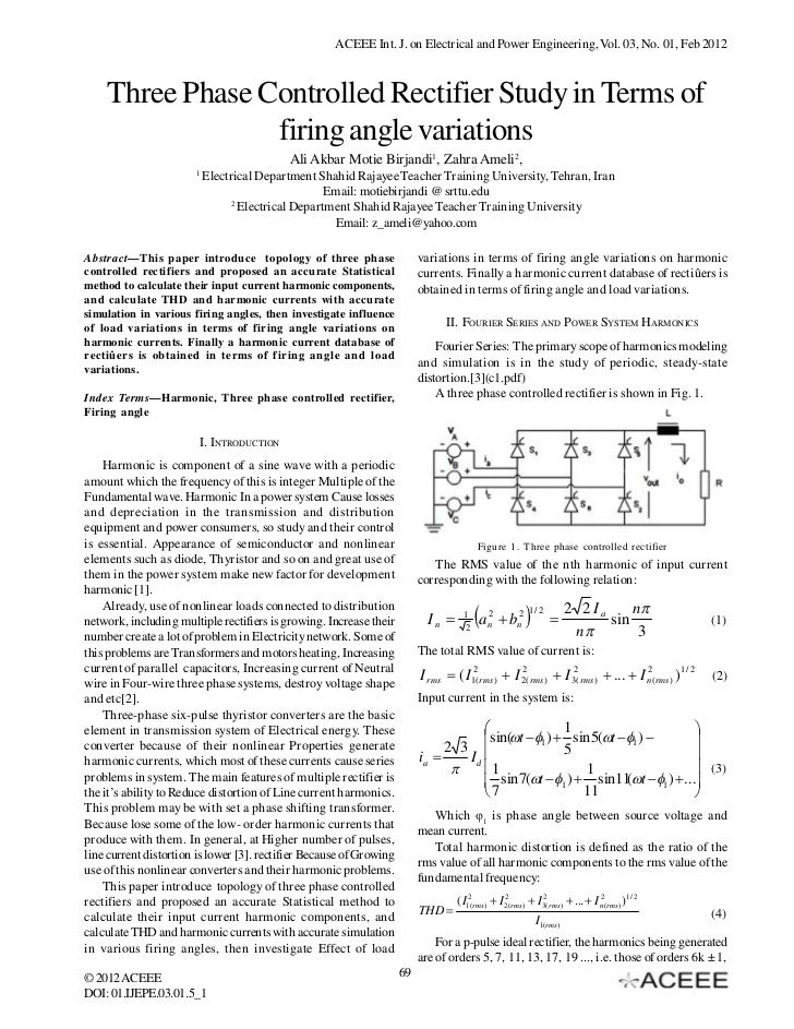 ACEEE Int. J. on Electrical and Power Engineering, Vol. 03, No. 01, Feb 2012    Three Phase Controlled Rectifier Study in ...