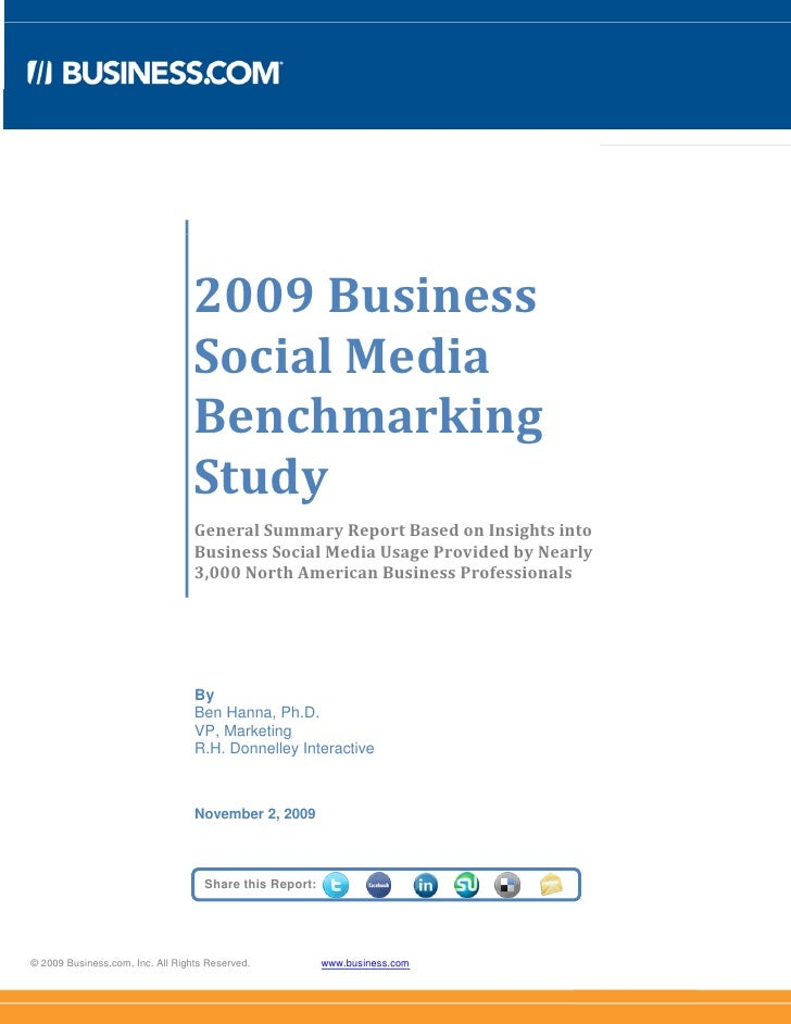 2009 Business Social Media Benchmarking