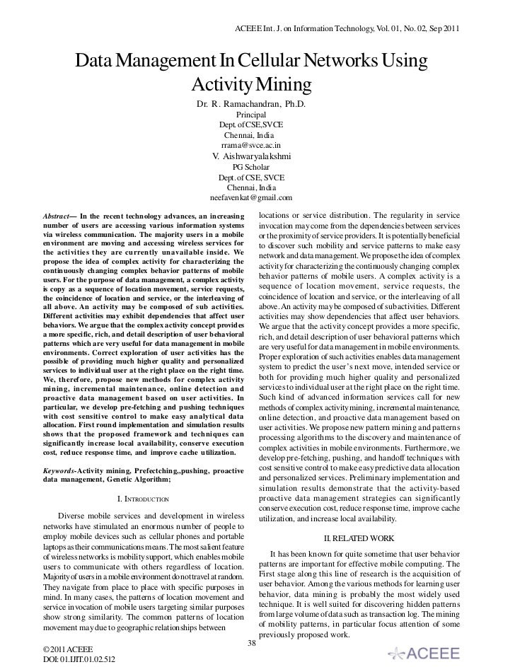 Data Management In Cellular Networks Using Activity Mining