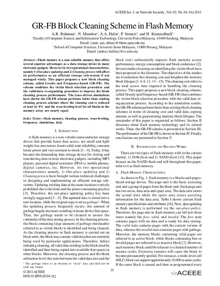ACEEE Int. J. on Network Security , Vol. 02, No. 04, Oct 2011      GR-FB Block Cleaning Scheme in Flash Memory            ...
