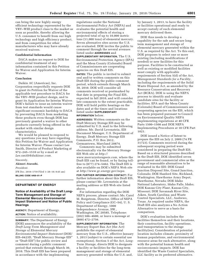 Federal Register / Vol. 75, No. 19 / Friday, January 29, 2010 / Notices                                            4801   ...