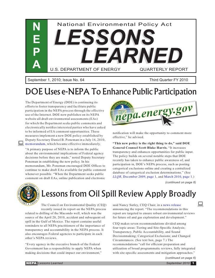 Sept. 2010 - DOE-NEPA Lessons Learned