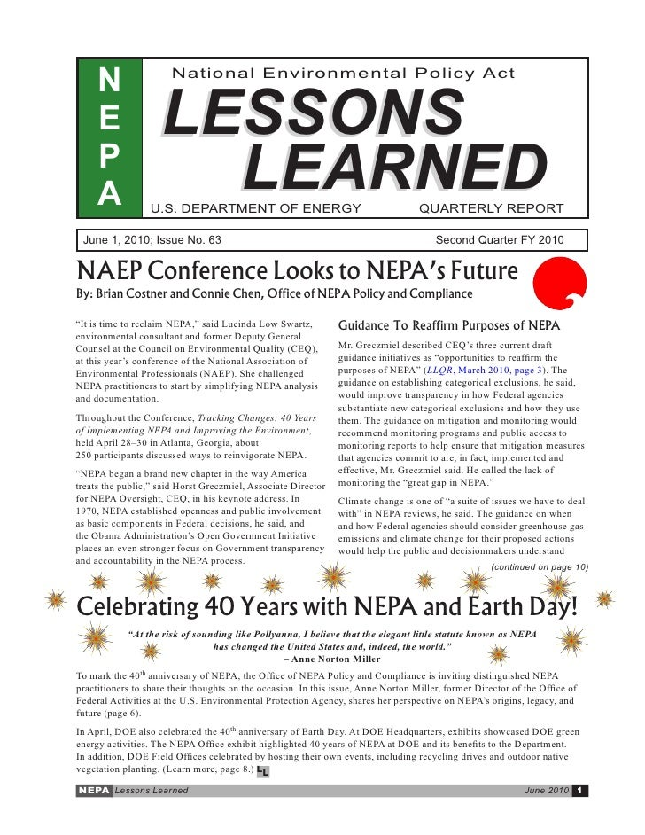 N                 National Environmental Policy Act        E              LESSONS      P      A                LEARNED    ...