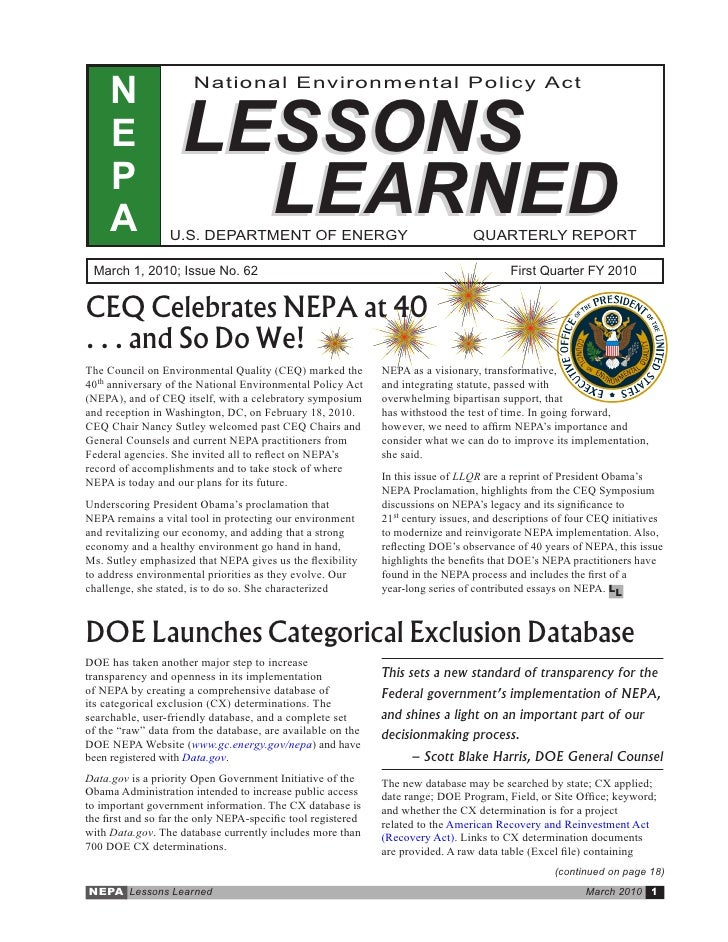 March 2010 - DOE-NEPA Lessons Learned