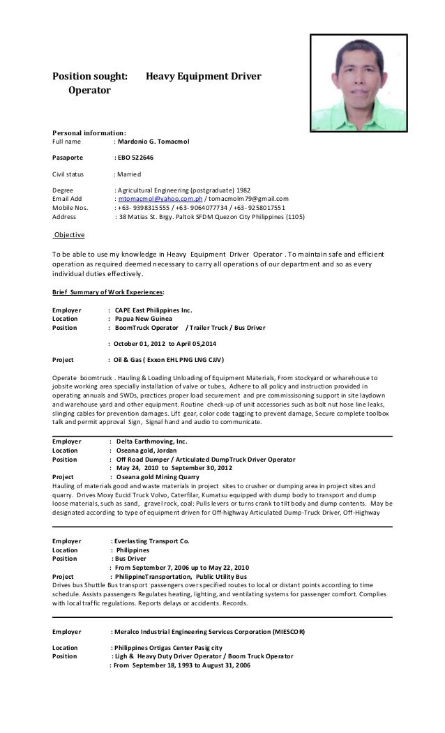 Dump Truck Operator Resume Template Resumes Design Resume