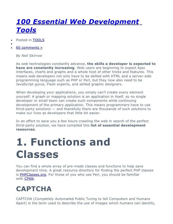 100 Essential Web Development Tools