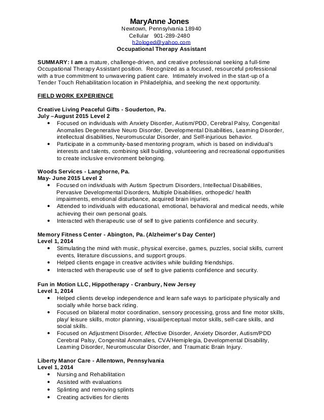 occupational therapy assistant resumes