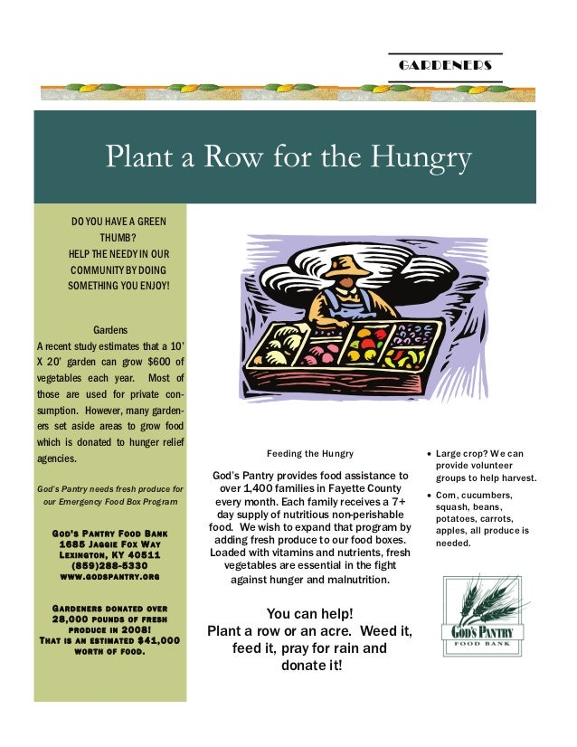 Plant a Row for the Hungry - God's Pantry Food Bank - Lexington, Kentucky
