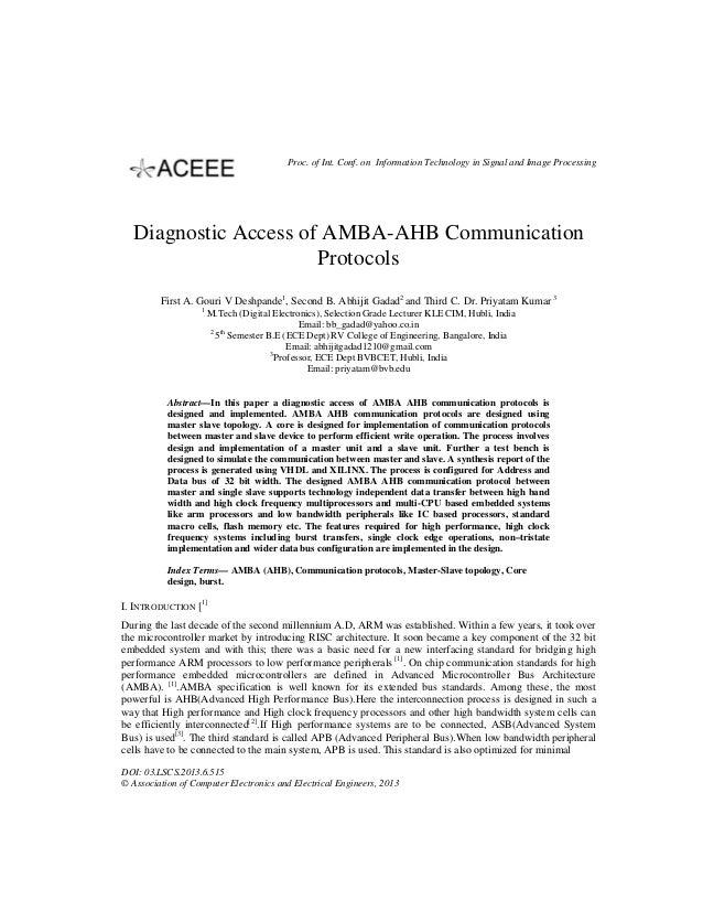 Proc. of Int. Conf. on Information Technology in Signal and Image Processing  Diagnostic Access of AMBA-AHB Communication ...