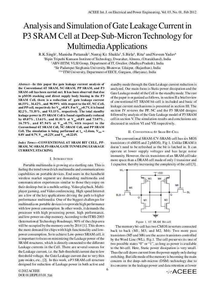 Analysis and Simulation of Gate Leakage Current in P3 SRAM Cell at Deep-Sub-Micron Technology for Multimedia Applications