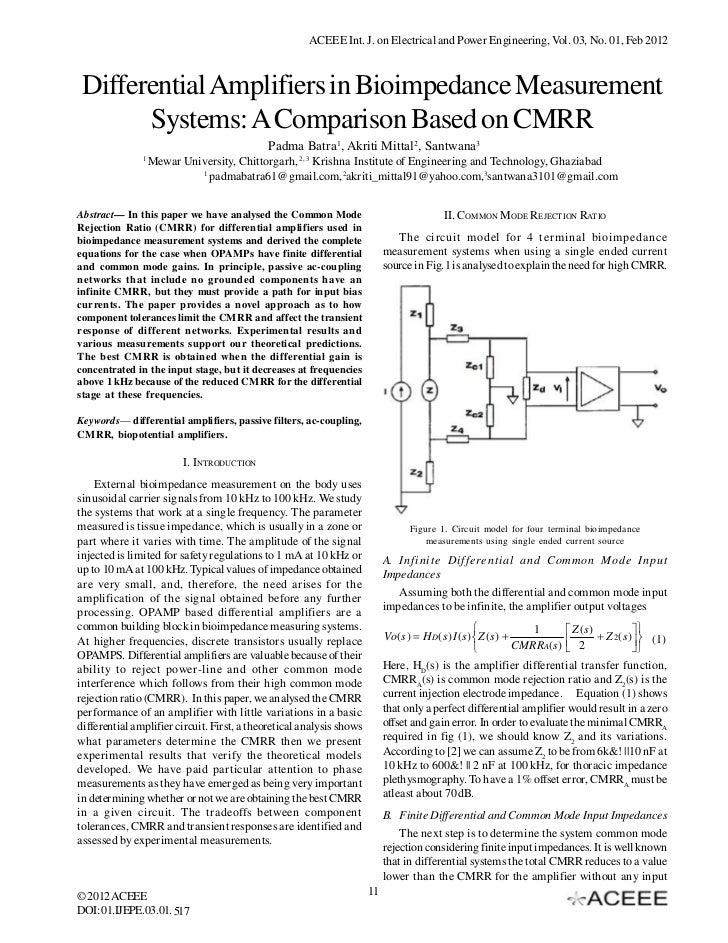 ACEEE Int. J. on Electrical and Power Engineering, Vol. 03, No. 01, Feb 2012 Differential Amplifiers in Bioimpedance Measu...