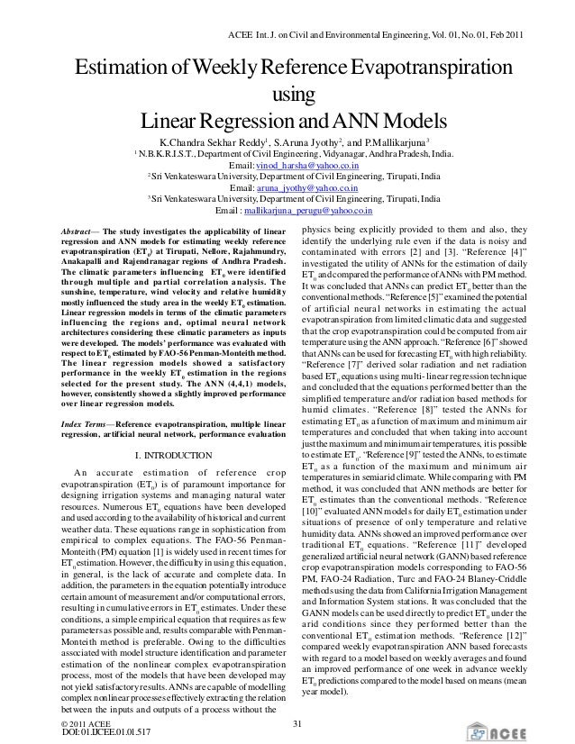 Estimation of Weekly Reference Evapotranspiration using Linear Regression and ANN Models