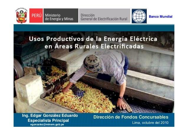 Banco Mundial Dirección de Fondos Concursables Lima, octubre del 2010 Ing. Edgar González Eduardo Especialista Principal e...