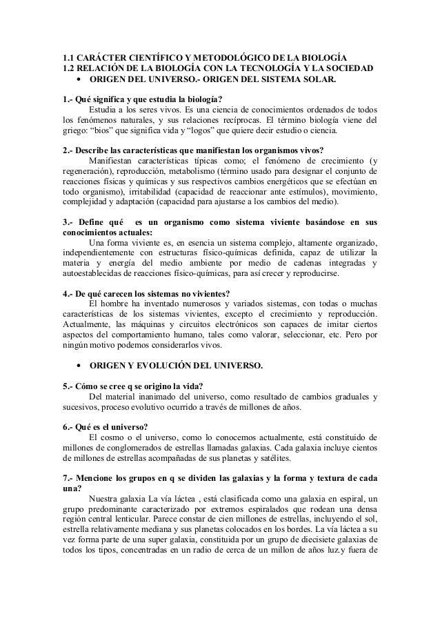 1.1 CARÁCTER CIENTÍFICO Y METODOLÓGICO DE LA BIOLOGÍA1.2 RELACIÓN DE LA BIOLOGÍA CON LA TECNOLOGÍA Y LA SOCIEDAD• ORIGEN D...