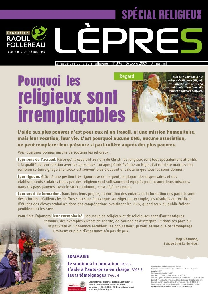 Spécial religieux                          La revue des donateurs Follereau - No 396 - Octobre 2009 - bimestriel     pourq...