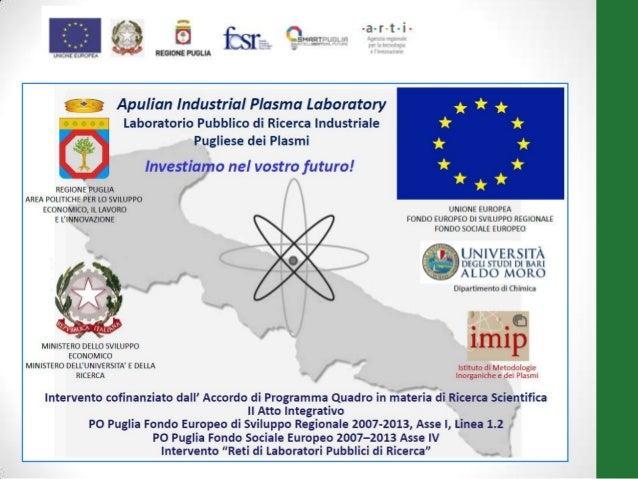 """progetto""""RetidiLaboratorio""""n.51finanziatodallaRegionePuglia LABORATORIOPUBBLICO DI RICERCA INDUSTRIALE PUGLIESEDEI PLASMI ..."""