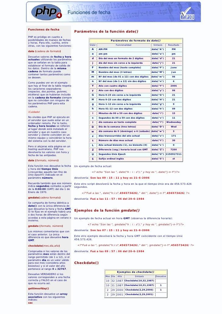 51 Php. Funciones De Fecha