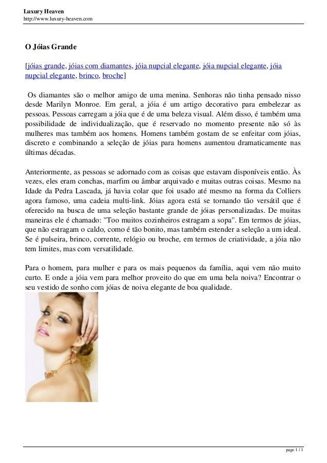 Luxury Heaven http://www.luxury-heaven.com O Jóias Grande [jóias grande, jóias com diamantes, jóia nupcial elegante, jóia ...