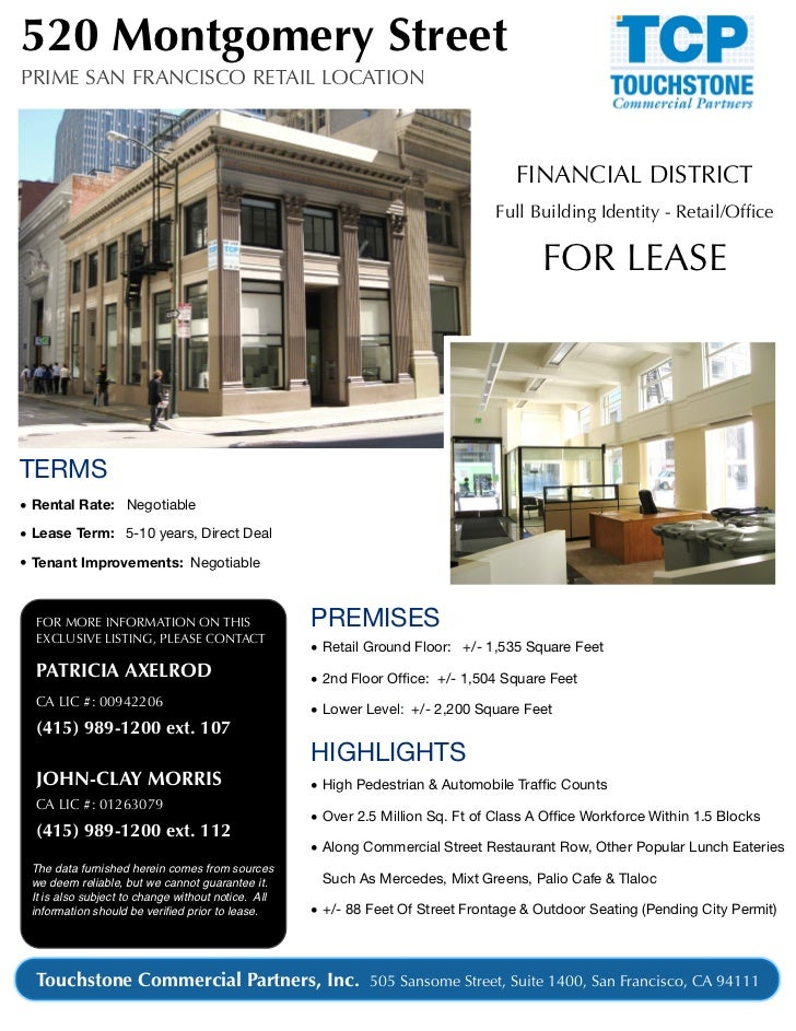 520 Montgomery StreetPRIME SAN FRANCISCO RETAIL LOCATION                                                                  ...