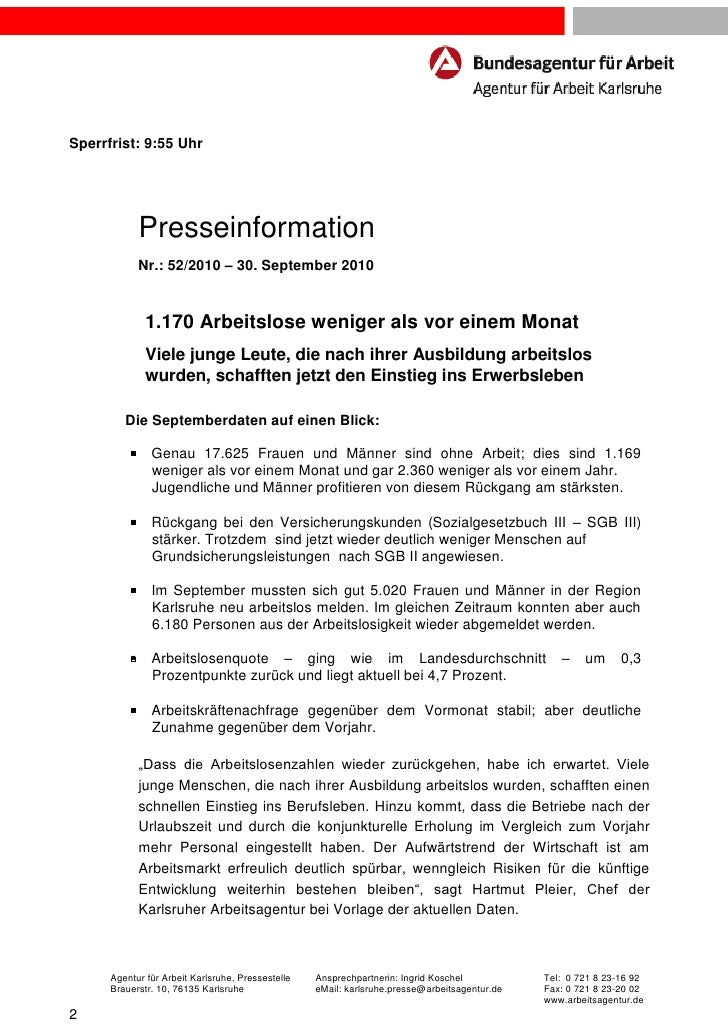 Sperrfrist: 9:55 Uhr              Presseinformation              Nr.: 52/2010 – 30. September 2010               1.170 Arb...