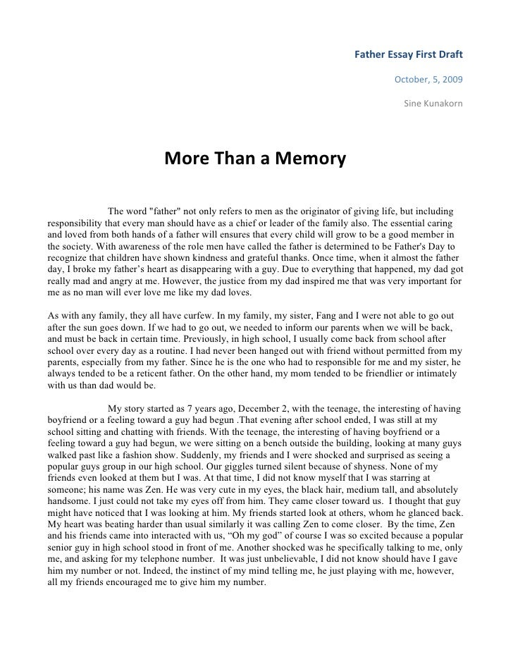 Father Essay First Draft                                                                                        October, 5...