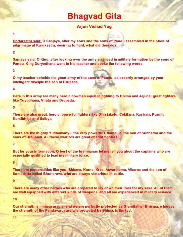 Bhagvad Gita                                       Arjun Vishad Yog1Dhrtarastra said: O Sanjaya, after my sons and the son...