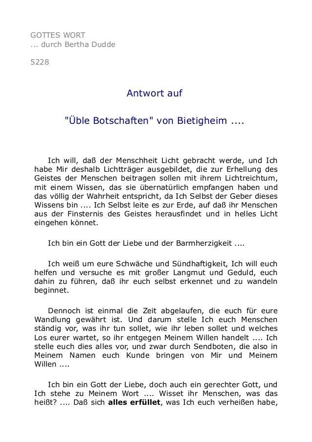 """GOTTES WORT ... durch Bertha Dudde 5228 Antwort auf """"Üble Botschaften"""" von Bietigheim .... Ich will, daß der Menschheit Li..."""