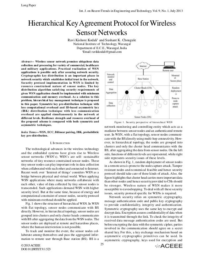 Hierarchical Key Agreement Protocol for Wireless Sensor Networks