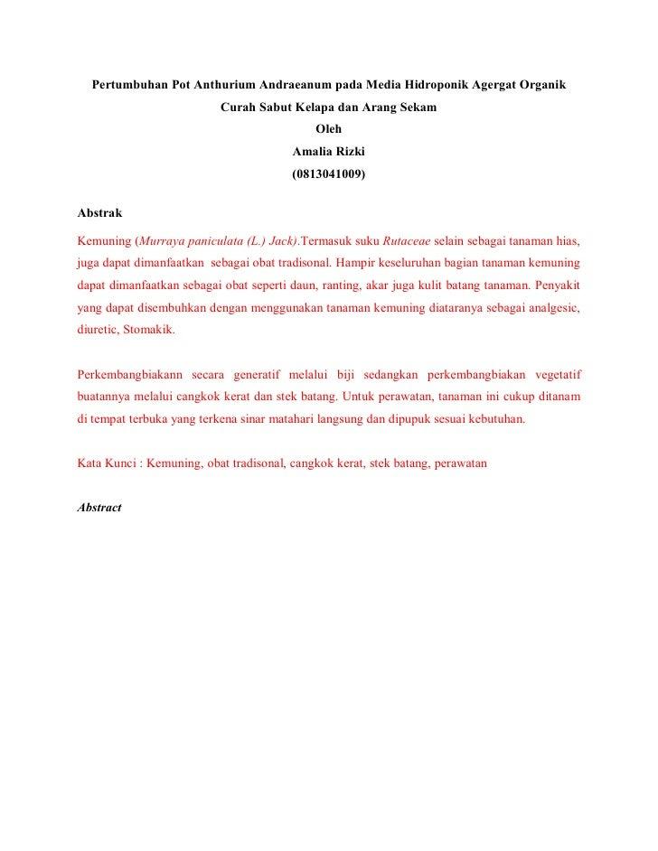 Pertumbuhan Pot Anthurium Andraeanum pada Media Hidroponik Agergat Organik                           Curah Sabut Kelapa da...