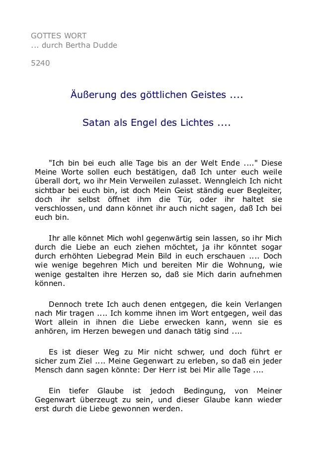 """GOTTES WORT ... durch Bertha Dudde 5240 Äußerung des göttlichen Geistes .... Satan als Engel des Lichtes .... """"Ich bin bei..."""