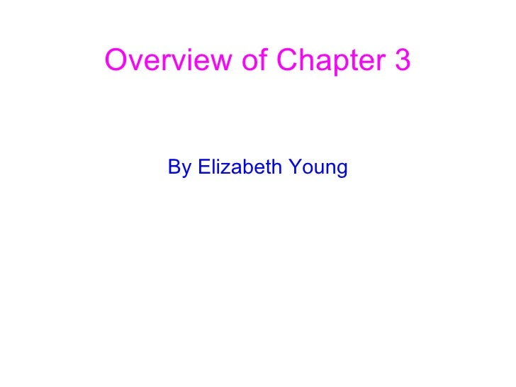 Overview of Chapter 3 By Elizabeth Young