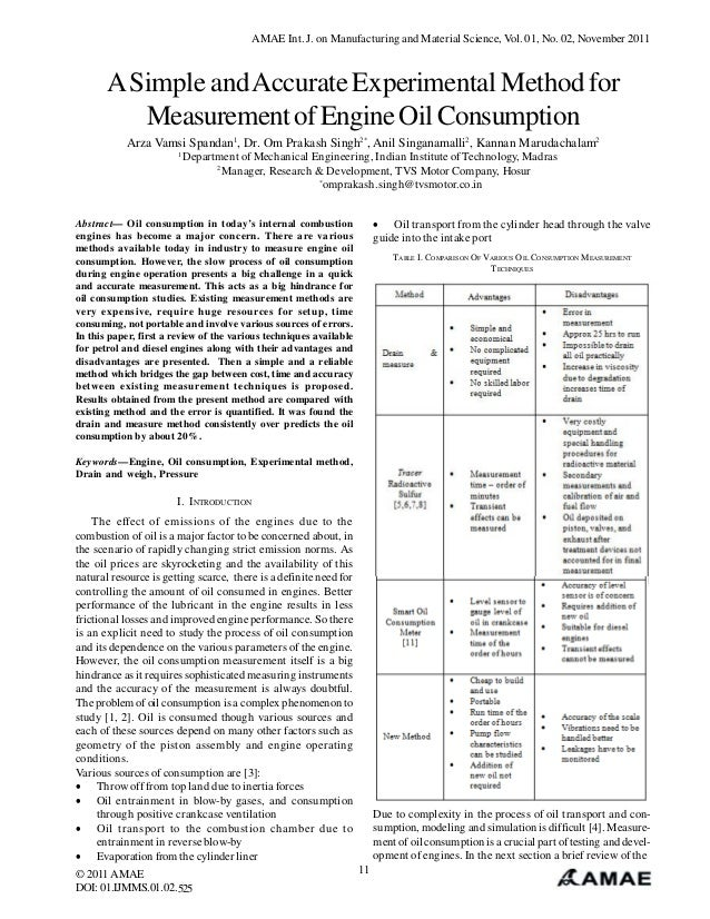 A Simple and Accurate Experimental Method for Measurement of Engine Oil Consumption