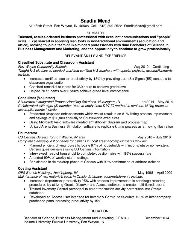 lean six sigma resume 2015