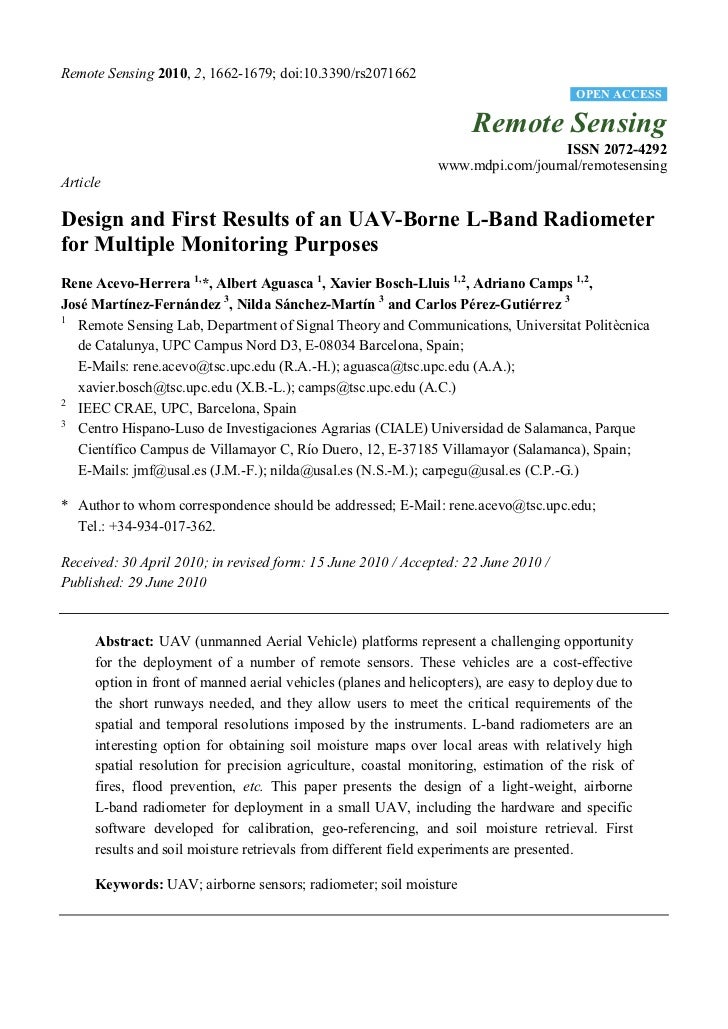Design and First Results of an UAV-Borne L-Band Radiometer for Multiple Monitoring Purposes