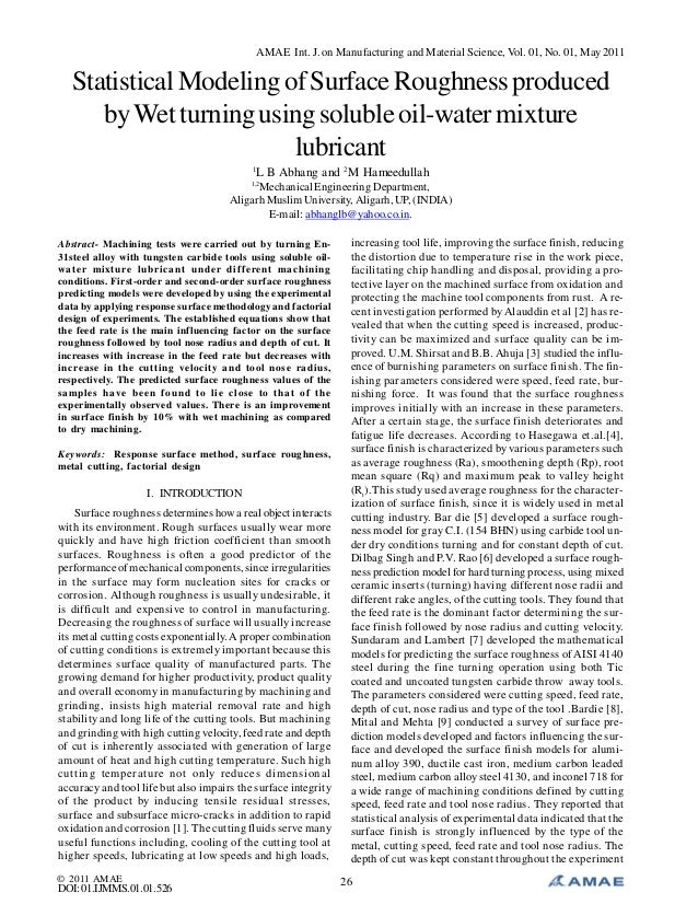 Statistical Modeling of Surface Roughness produced by Wet turning using soluble oil-water mixture lubricant